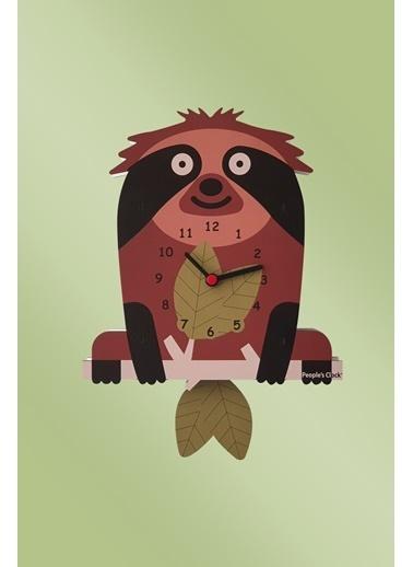 Peoples Clock Yaramaz Sloth Sallanan Sarkaçlı Çocuk Odası Duvar Saati Renkli